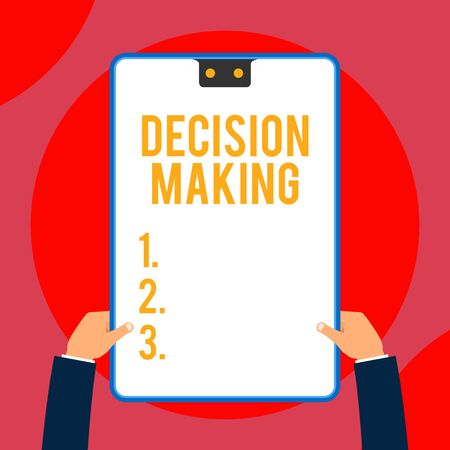 Text sign showing Decision Making. Business photo text The act of deciding between two or more possibilities Two executive male hands holding electronic device geometrical background
