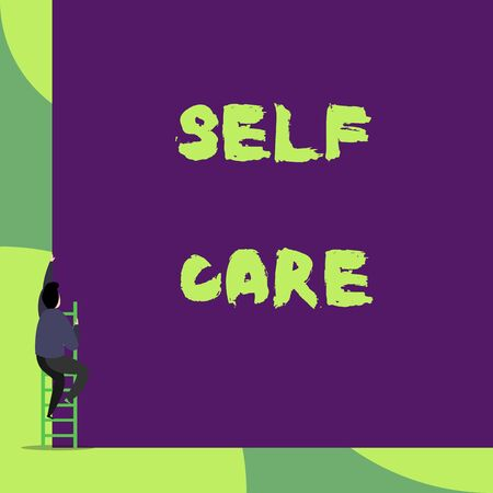 Text sign showing Self Care. Business photo showcasing the practice of taking action to improve one s is own health Back view young man climbing up staircase ladder lying big blank rectangle Stock fotó