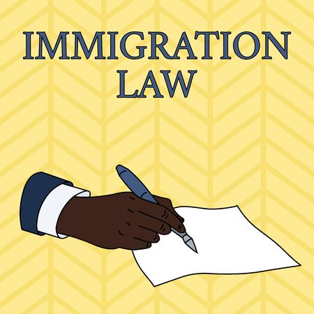 Word writing text Immigration Law. Business photo showcasing Emigration of a citizen shall be lawful in making of travel Male Hand Formal Suit Holding Ballpoint Pen Blank Piece of Paper Writing Banque d'images