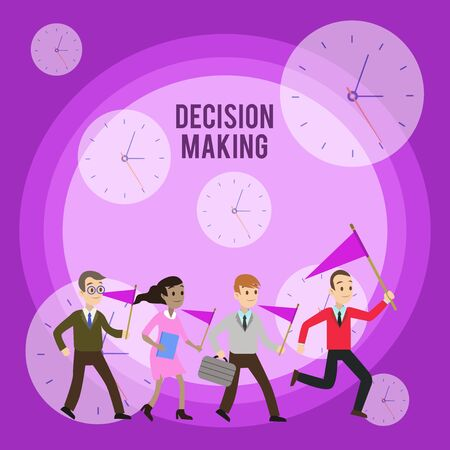 Conceptual hand writing showing Decision Making. Concept meaning The act of deciding between two or more possibilities Crowd Flags Headed by Leader Running Demonstration Meeting