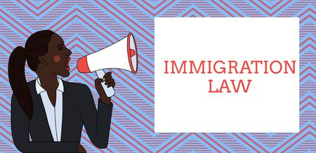 Word writing text Immigration Law. Business photo showcasing Emigration of a citizen shall be lawful in making of travel Young Woman Jacket Ponytail Shouting into Loudhailer Rectangular Text Box