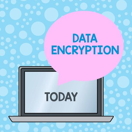Writing note showing Data Encryption. Business concept for Symmetrickey algorithm for the encrypting electronic data Round Shape Speech Bubble Floating Over Laptop Backdrop