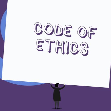 Writing note showing Code Of Ethics  Business concept for basic