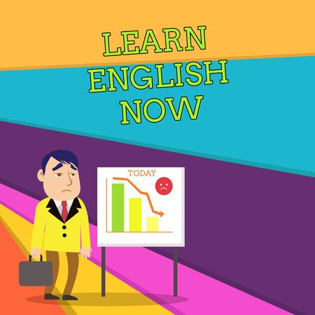 Handwriting text Learn English Now. Conceptual photo gain or acquire knowledge and skill of english language Businessman Clerk with Brief Case Standing Whiteboard Declining Bar Chart