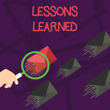 Writing note showing Lessons Learned. Business concept for the knowledge or understanding gained by experience Magnifying Glass on Color Envelope and others has Same Shade