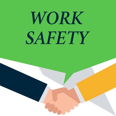 Conceptual hand writing showing Work Safety. Concept meaning policies and procedures in place to ensure health of employees People have conversation greet each other and shake hands