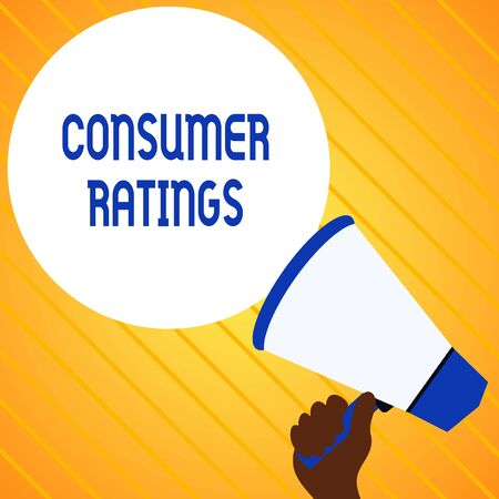 Text sign showing Consumer Ratings. Business photo text feedback given by clients after buying product or service Hand Holding Loudhailer Empty Round Speech Text Balloon Announcement New Stock Photo