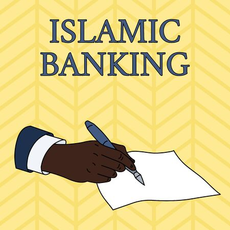 Word writing text Islamic Banking. Business photo showcasing Banking system based on the principles of Islamic law Male Hand Formal Suit Holding Ballpoint Pen Blank Piece of Paper Writing