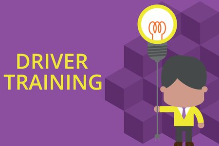 Handwriting text writing Driver Training. Conceptual photo prepares a new driver to obtain a driver s is license Standing man tie holding plug socket light bulb to connect idea. Startup