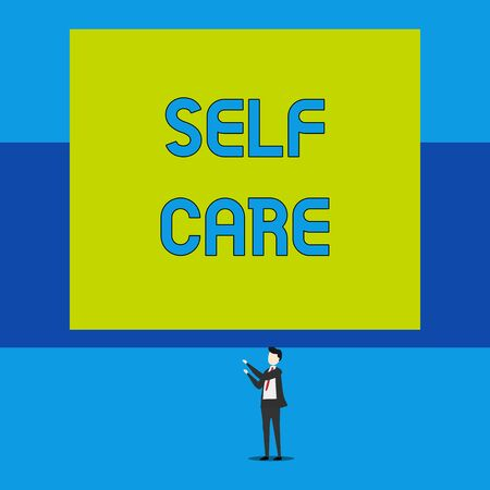 Word writing text Self Care. Business photo showcasing the practice of taking action to improve one s is own health Isolated view young man standing pointing upwards two hands big rectangle