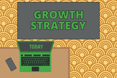 Writing note showing Growth Strategy. Business concept for Strategy aimed at winning larger market share in shortterm Office working place laptop lying wooden desk smartphone