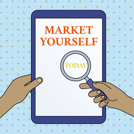 Text sign showing Market Yourself. Business photo showcasing Making yourself for any kind of task and project in life Hands Holding Magnifying Glass Against Switched Off Touch Screen Tablet Banco de Imagens