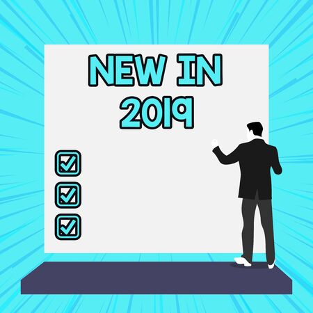 Conceptual hand writing showing New In 2019. Concept meaning what will be expecting or new creation for the year 2019 Woman watching blank big rectangle. Geometrical background