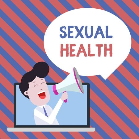Handwriting text writing Sexual Health. Conceptual photo positive and respectful approach to sexual relationships Man Speaking Through Laptop into Loudhailer Blank Speech Bubble Announce Stock Photo