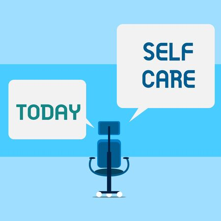 Conceptual hand writing showing Self Care. Concept meaning the practice of taking action to improve one s is own health Executive chair sharing two square speech bubbles right left side Stock fotó