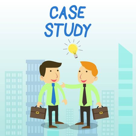 Word writing text Case Study. Business photo showcasing analysis and a specific research design for examining a problem Two White Businessmen Colleagues with Brief Cases Sharing Idea Solution