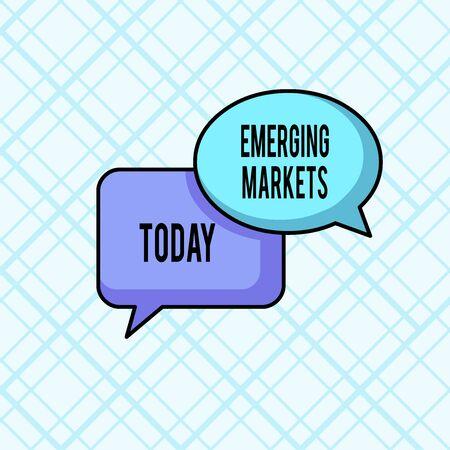 L'écriture de texte Word sur les marchés émergents. Photo d'entreprise présentant un pays qui a certaines caractéristiques des magasins développés Paire de bulles vierges qui se chevauchent de forme ovale et rectangulaire Banque d'images