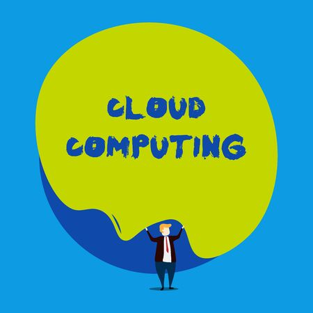 Conceptual hand writing showing Cloud Computing. Concept meaning use a network of remote servers hosted on the Internet Male human wear formal tuxedo hold asymmetrical shape bubble