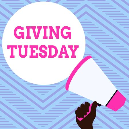 Text sign showing Giving Tuesday. Business photo showcasing international day of charitable giving Hashtag activism Hand Holding Loudhailer Empty Round Speech Text Balloon Announcement New Stock Photo