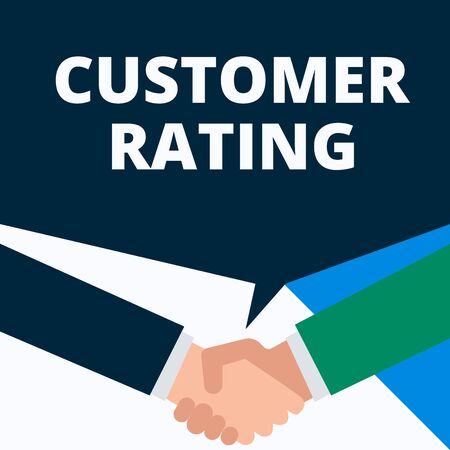 Conceptual hand writing showing Customer Rating. Concept meaning Each point of the customers enhances the experience Two men hands shaking showing a deal sharing speech bubble Reklamní fotografie