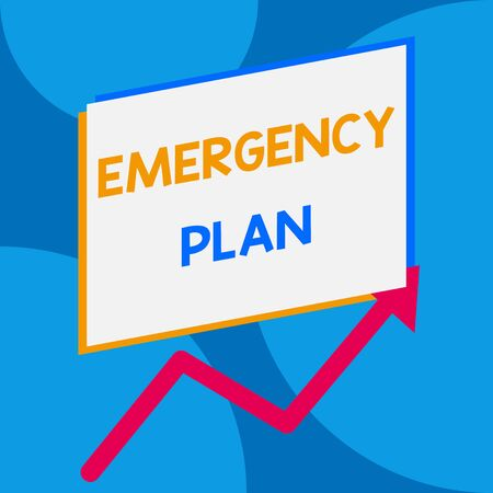 Word writing text Emergency Plan. Business photo showcasing procedures for handling sudden or unexpected situations One blank rectangle above another arrow zigzag upwards increasing sale Standard-Bild