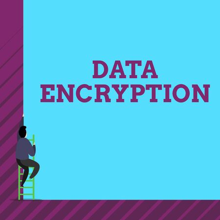 Text sign showing Data Encryption. Business photo text Symmetrickey algorithm for the encrypting electronic data One male human person climb up the tall high wall use short ladder stairway
