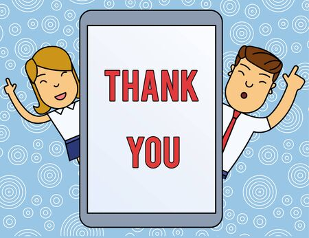 Word writing text Thank You. Business photo showcasing a polite expression used when acknowledging a gift or service Male and Female Index Fingers Up Touch Screen Tablet Smartphone Device Stockfoto