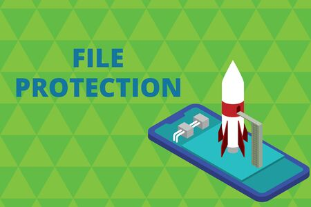 Word writing text File Protection. Business photo showcasing Preventing accidental erasing of data using storage medium Ready to launch rocket lying smartphone. Startup negotiations to begin