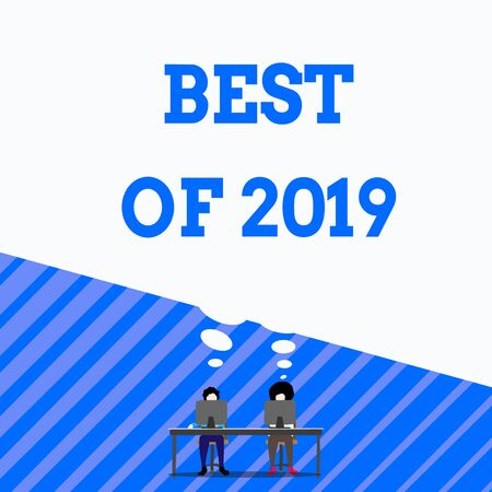 Writing note showing Best Of 2019. Business concept for great and marvelous things and events happened on 2019 Man with purple trouser sit on chair talk to fellow near computer table