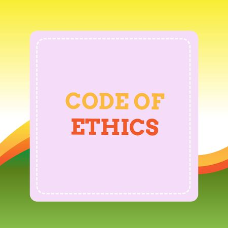 Handwriting text writing Code Of Ethics  Conceptual photo basic