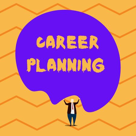 Text sign showing Career Planning. Business photo showcasing Strategically plan your career goals and work success Male human wear formal tuxedo hold asymmetrical shape bubble use both hands