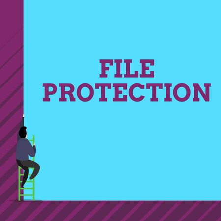 Text sign showing File Protection. Business photo text Preventing accidental erasing of data using storage medium One male human person climb up the tall high wall use short ladder stairway