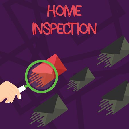 Writing note showing Home Inspection. Business concept for Examination of the condition of a home related property Magnifying Glass on Color Envelope and others has Same Shade