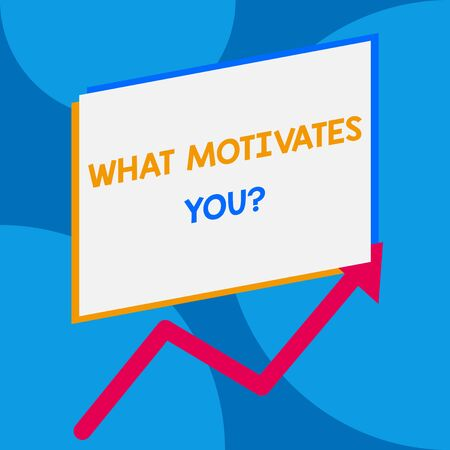 Word writing text What Motivates You question. Business photo showcasing know reasons why you want to wake up each morning One blank rectangle above another arrow zigzag upwards increasing sale