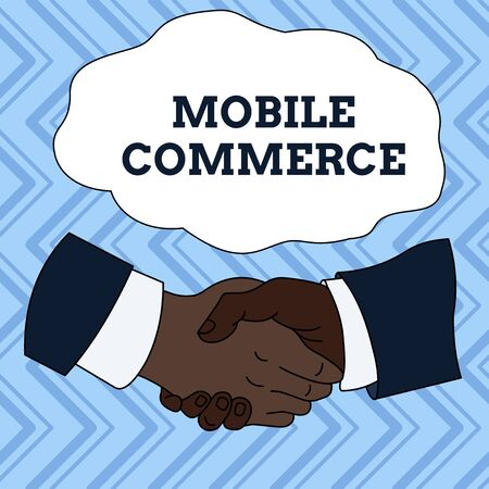 Text sign showing Mobile Commerce. Business photo showcasing Using mobile phone to conduct commercial transactions online Hand Shake Multiracial Male Business Partners Colleagues Formal Shirt Suit Фото со стока