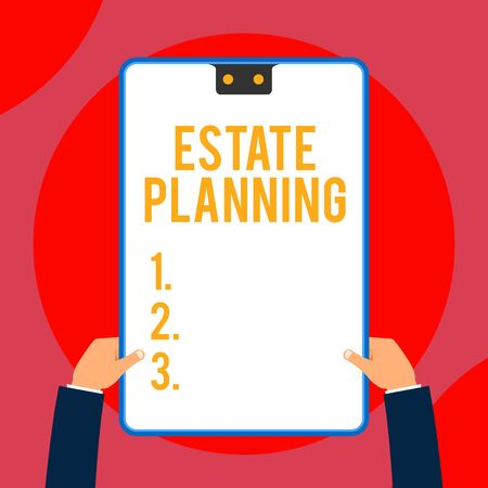Text sign showing Estate Planning. Business photo text The analysisagement and disposal of that demonstrating s is estate Two executive male hands holding electronic device geometrical background
