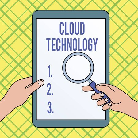 Writing note showing Cloud Technology. Business concept for storing and accessing data and programs over Internet Hands Holding Magnifying Glass Against Switched Off Touch Screen Tablet