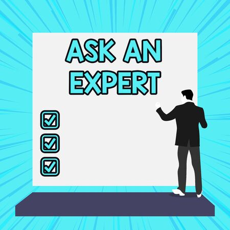 Conceptual hand writing showing Ask An Expert. Concept meaning consult someone who has skill about something or knowledgeable Woman watching blank big rectangle. Geometrical background