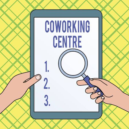Writing note showing Coworking Centre. Business concept for shared workplace often office and independent activity Hands Holding Magnifying Glass Against Switched Off Touch Screen Tablet Banco de Imagens