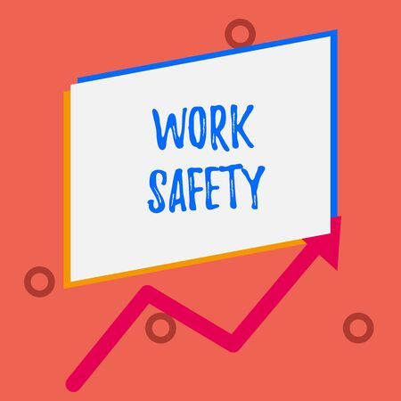 Writing note showing Work Safety. Business concept for policies and procedures in place to ensure health of employees One blank rectangle above another arrow zigzag upwards increasing sale