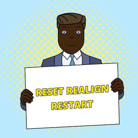 Handwriting text Reset Realign Restart. Conceptual photo Life audit will help you put things in perspectives Smiling Man Holding Formal Suit Big Blank Poster Board in Front of Himself Stock Photo