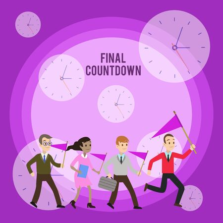 Conceptual hand writing showing Final Countdown. Concept meaning Last moment of any work having no posibility of discusion Crowd Flags Headed by Leader Running Demonstration Meeting