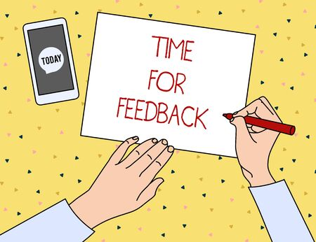 Conceptual hand writing showing Time For Feedback. Concept meaning information about reactions to a product or services Top View Man Writing Paper Pen Smartphone Message Icon Фото со стока