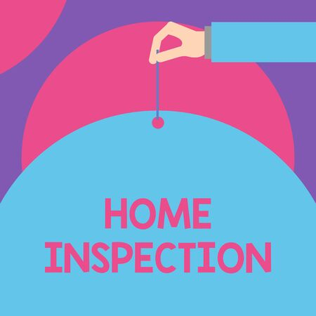 Handwriting text Home Inspection. Conceptual photo Examination of the condition of a home related property Male hand arm needle punching big half blank balloon geometrical background