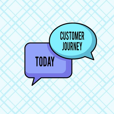 Word writing text Customer Journey. Business photo showcasing product of interaction between organization and customer Pair of Overlapping Blank Speech Bubbles of Oval and Rectangular Shape Archivio Fotografico