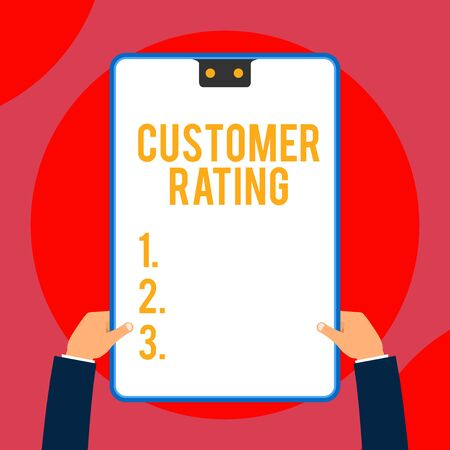 Text sign showing Customer Rating. Business photo text Each point of the customers enhances the experience Two executive male hands holding electronic device geometrical background