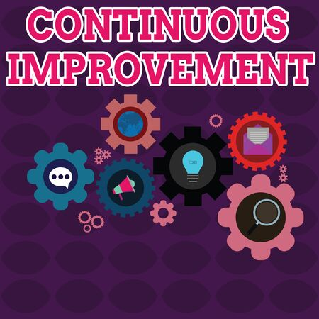 Text sign showing Continuous Improvement. Business photo showcasing ongoing effort to improve products or processes Set of Global Online Social Networking Icons Inside Colorful Cog Wheel Gear Zdjęcie Seryjne - 125248490