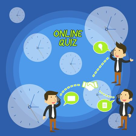 Text sign showing Online Quiz. Business photo text game or a mind sport that are published on the Internet Businessmen Coworkers Conference Call Conversation Discussion Mobile Phones Zdjęcie Seryjne - 125248532
