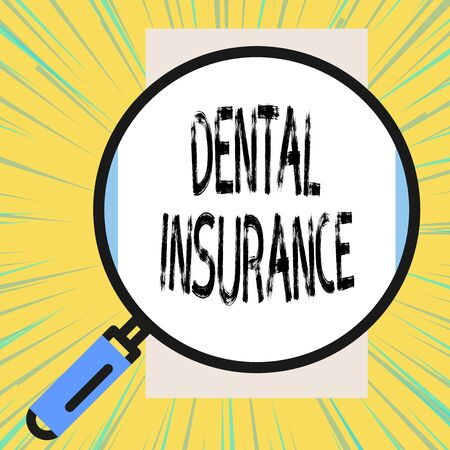 Writing note showing Dental Insurance. Business concept for form of health designed to pay portion or full of costs Big magnifier glass looking vertical rectangle. Geometrical background Фото со стока