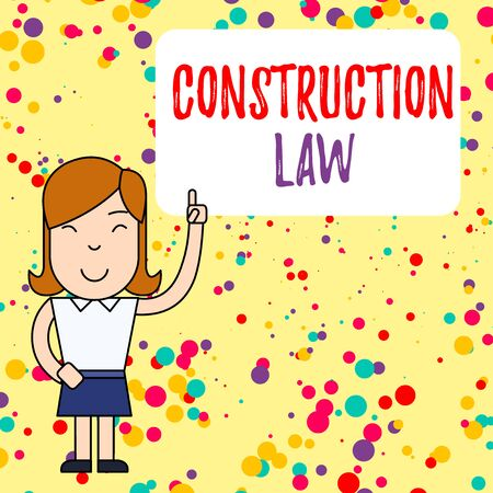 Handwriting text writing Construction Law. Conceptual photo deals with matters relating to building and related fields Woman Standing with Raised Left Index Finger Pointing at Blank Text Box